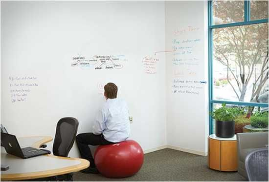 room with walls painted with writable paint