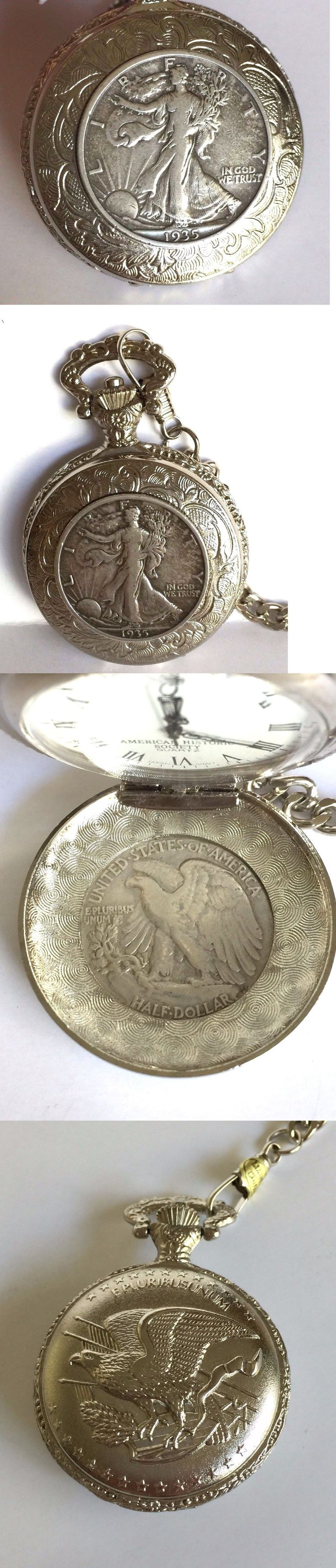 Other Pocket Watches 398: Us Historic Society Walking Liberty Half $ Quartz Pocket Watch W Fob And Display -> BUY IT NOW ONLY: $100 on eBay!