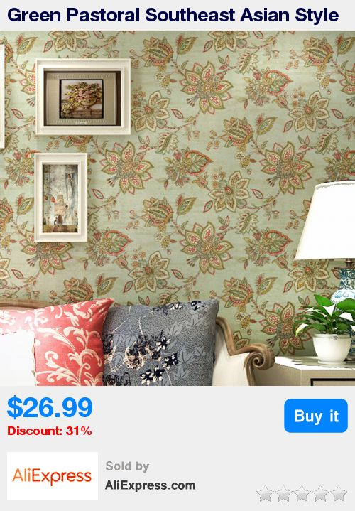 Green Pastoral Southeast Asian Style Pure Paper Big Flower Wallpaper Living Room Bedroom Background Wall Decor Art Wall Paper * Pub Date: 03:14 Jul 15 2017