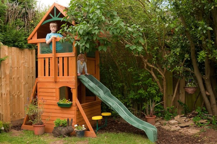 """""""The Rendle Fort is a fantastic climbing frame that doesn't take up too much room in a small garden. The wooden structure is well made and adds to the character of the garden. Our 7 year old boy and 3 year old daughter have great fun playing together in the Fort and love to eat their dinner on the top deck. We searched for a long time for a suitable climbing frame for our garden and are very pleased with our buy."""""""