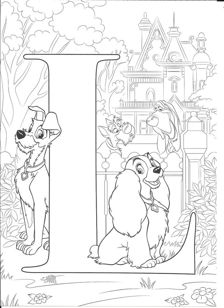 L For Lady Disney Coloring Pages Abc Coloring Pages Disney Princess Coloring Pages