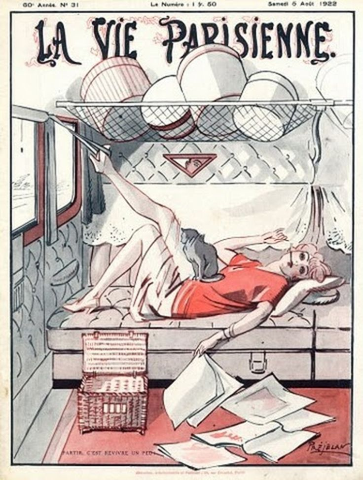 "A wanton young lady enjoying her journey by train, accompanied by her cat. René Préjelan cover for ""La Vie Parisienne', 1922; cutline alludes to popular song ""Partir, c'est revivre un peu"" (""It is a bit of a relief to leave..."")"
