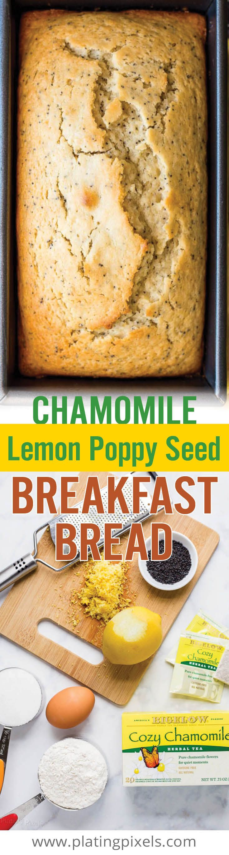 Quick and easy Chamomile Lemon Poppy Seed Breakfast Bread. This moist bread is loaded with lemon juice and zest, poppy seeds, almond extract and brewed chamomile tea for a unique, sweet brunch recipe. [ad] #TeaProudly - www.platingpixels.com