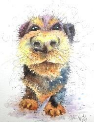 'Let Me In' Puppy Dog watercolour and pen painting by Sophie Appleton / www.sixfootsophie.co.uk ♥•♥•♥SWEET♥•♥•♥