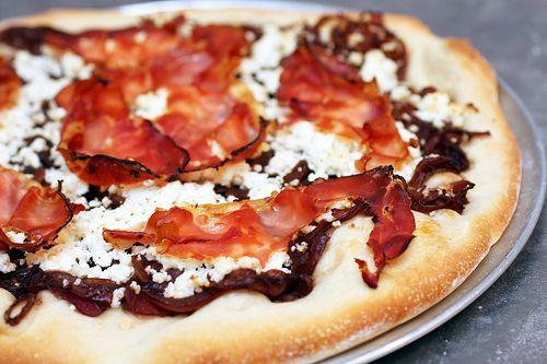 ricotta, red onion, prosciutto pizza