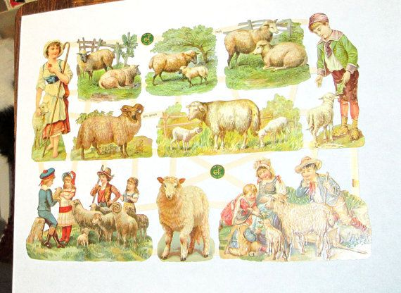 New German Victorian Farm Animals pasture sheep lambs children EF 7405 Easter spring card making pretty collage decoupage embellishments