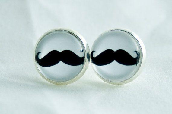 Pendientes Movember 12mm Mostache por ChicaMangaBCN en Etsy