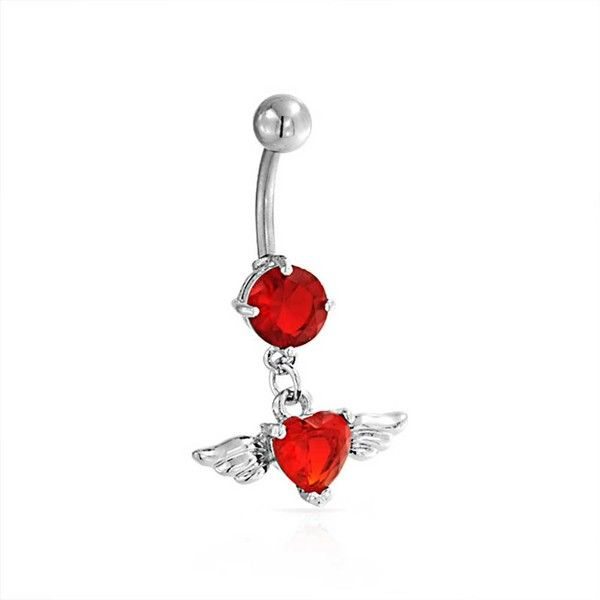 Bling Jewelry So Red Heart Charmer Body Jewelry ($9.99) ❤ liked on Polyvore featuring jewelry, belly rings, piercings, belly button rings, body piercing's, red, body jewelry, body-piercing-rings, belly rings jewelry and body jewellery