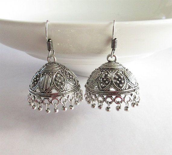 Silver Antique Beads Jhumka/Indian Jhumka/ by Beauteshoppe on Etsy