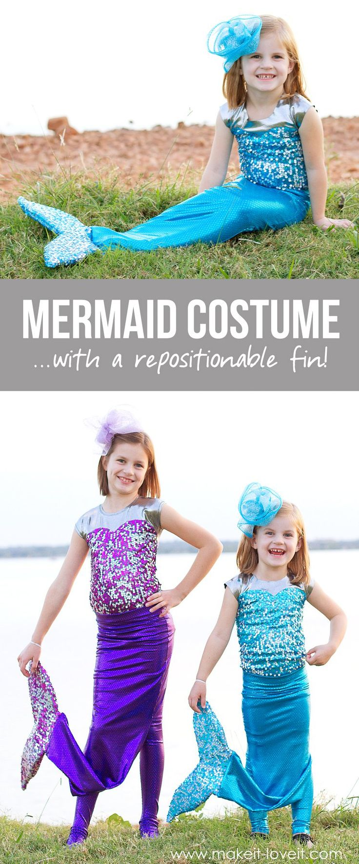 DIY Mermaid Costume with a REPOSITIONABLE Fin! | via Make It and Love It