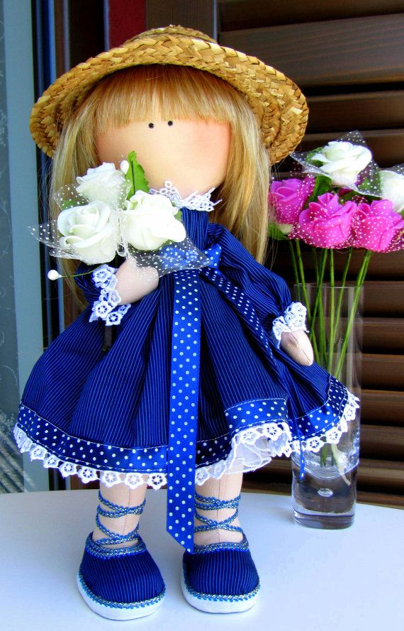 CLOTH DOLL, handmade doll, fabric doll, art doll, custom doll Girl in a straw hat with the roses