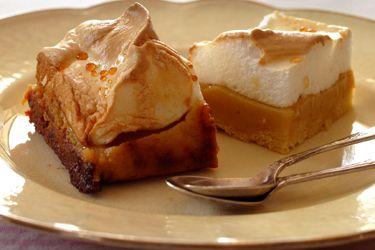 Caramel meringue slice