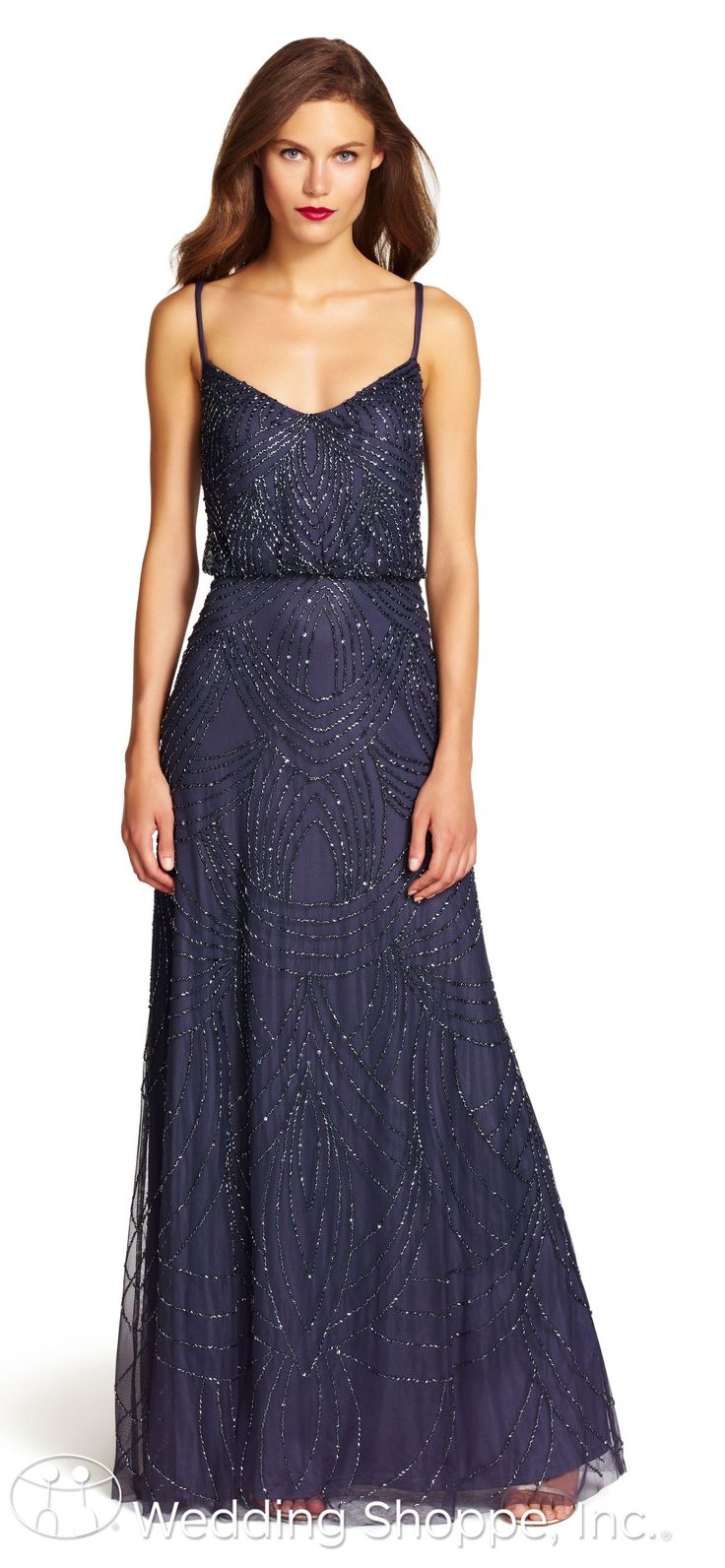 Pinterest flapper wedding dresses 1920s style and adrianna papell - A Dazzling Navy Beaded Bridesmaid Dress From Adrianna Papell