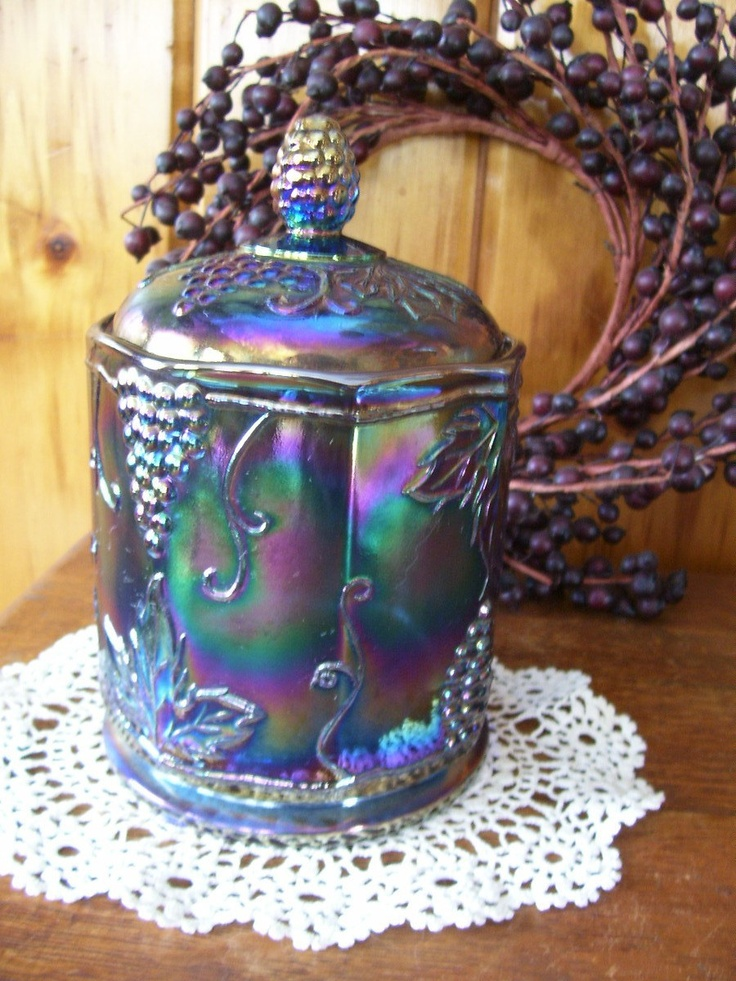 Harvest Blue Carnival Glass