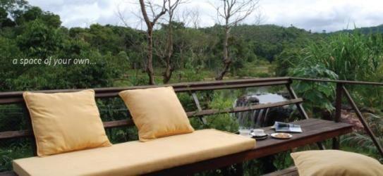 Lounge deck at Flameback Lodges, Karnataka, India