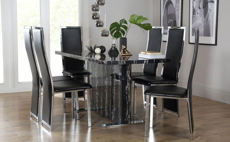 Black marble dining room