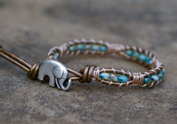 chic leather wrap bracelet elephant etsy