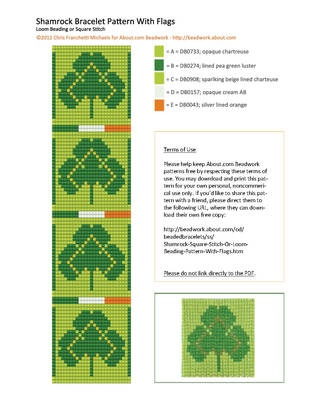 Variation on the free shamrocks beading pattern, this time with Irish flags. For square stitch or loomwork.