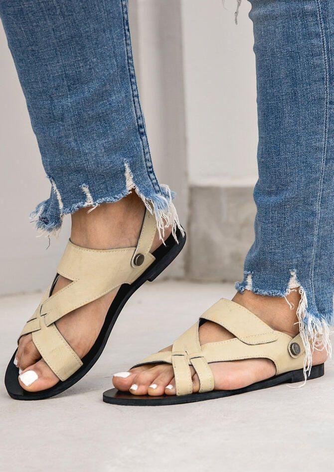 89f644e69 FairySeason / Solid Hollow Out Flat Sandals - Beige | Sandals ...