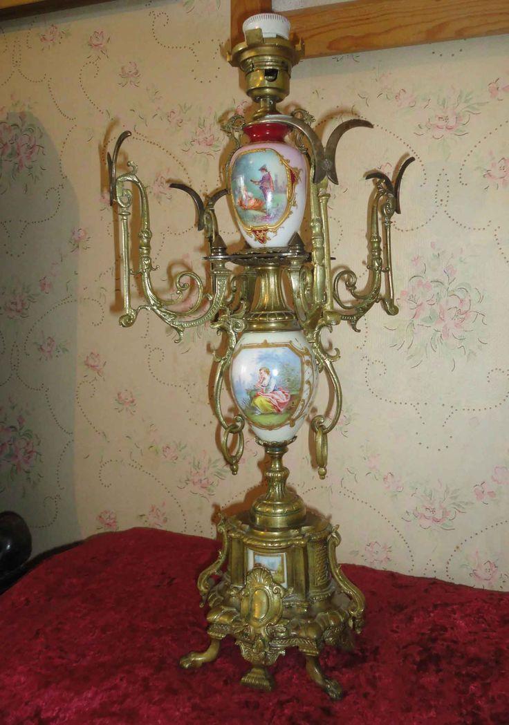 Антикварная настольная лампа бронза литьё фарфор жанровая картина барокко живопись золото 19 век
