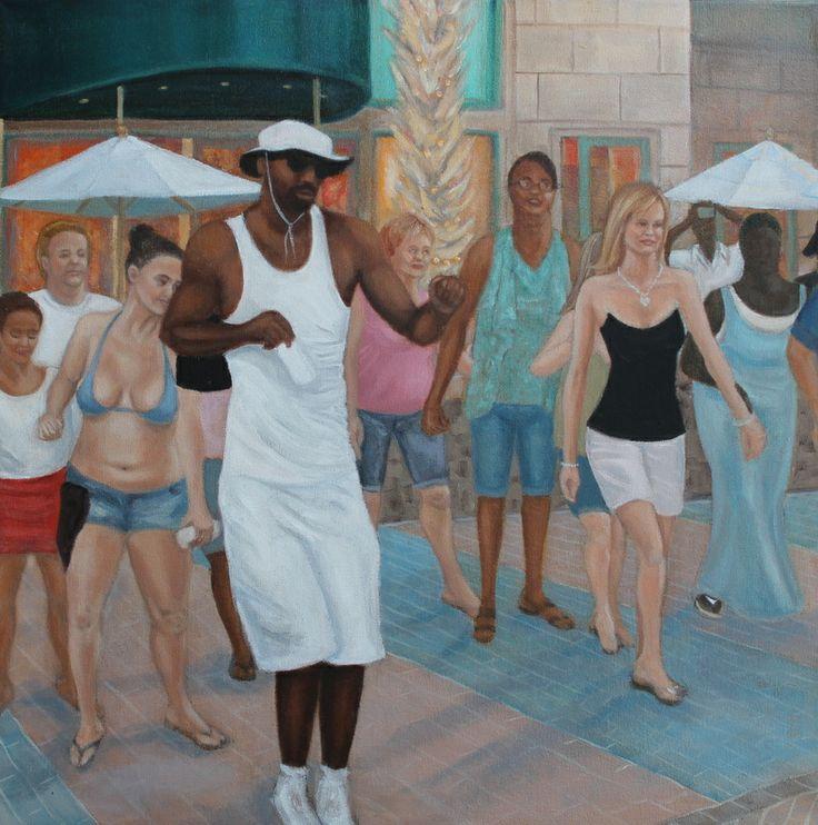 cuban shuffle in virginia beach - oil painting by christine beattie