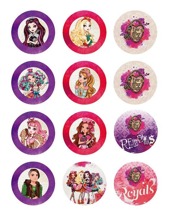 INSTANT DOWNLOAD Ever After High 2 Inch Circles by MagicalParty: