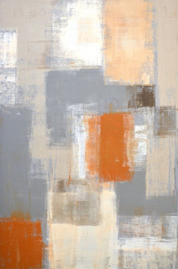 So Unique, 2013 - Original Acrylic Artwork Modern Contemporary Abstract Painting Wall Decor Free Shipping Grey Beige Tan White 24x36 Canvas
