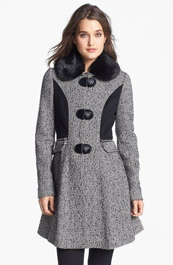 Betsey Johnson Faux Fur Collar Tweed Coat