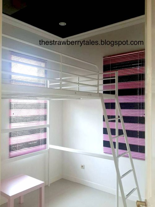 IKEA TROMSO Loft bed and LACK table (pink)