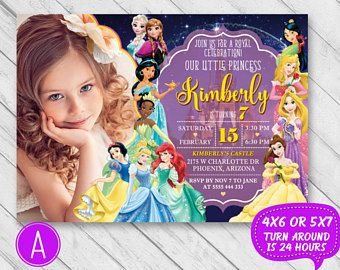 Disney princess birthday invitation, Disney princess invitation with photo, Princess invitation, Disney princess invite, Princess party card