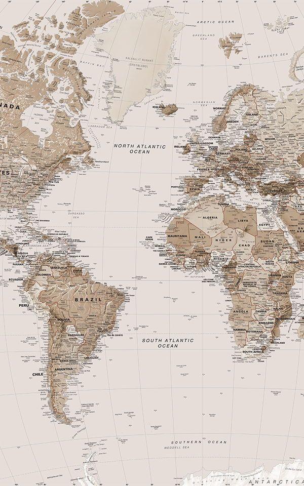 Earth Tone Wallpaper World Map Mural Murals Wallpaper World Map Wallpaper Aesthetic Wallpapers Map Murals