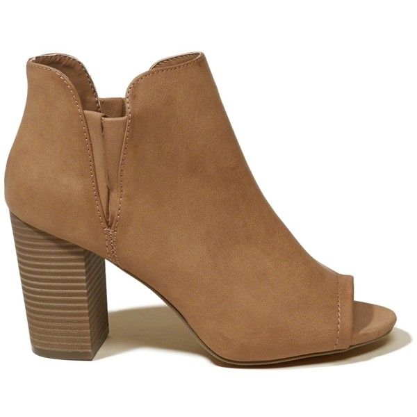 Hollister Madden Girl Fizzle Bootie ($69) ❤ liked on Polyvore featuring shoes, boots, ankle booties, brown, brown booties, brown ankle boots, wedge bootie, wedge boots and wedge heel boots