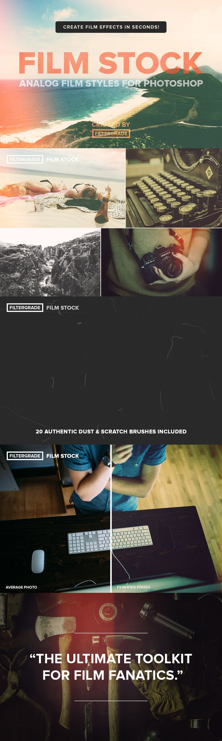 FilmStock Analog Photoshop Actions. An authentic set of film and analog styles for your photos!