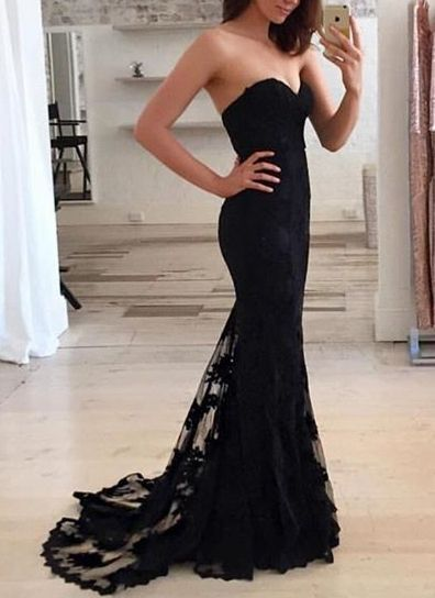 Charming Prom Dress,Mermaid Prom Dresses,Black Lace Prom Dress,Long Evening Dress