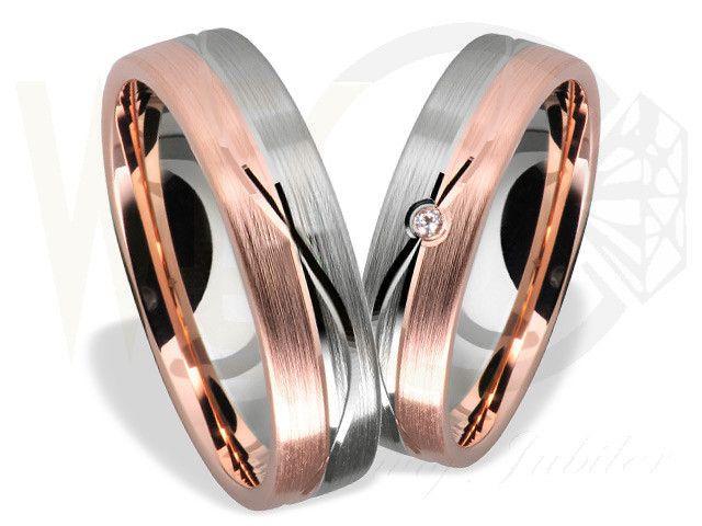 Obrączki ślubne z białego i czerwonego złota/ Wedding rings made from red and white gold / 2096 PLN #gold #wedding_rings #jewellery #jewelry #bizuteria #zloto #obraczki_slubne