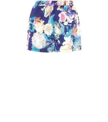 Girls On Film Blue Floral Print Shorts
