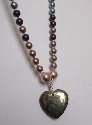 Pyrite Heart Pearl Pendant
