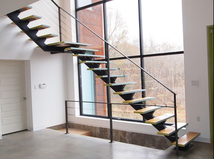 #stairs #staircase #acadia #acadiastairs #exteriorstairs #interiorstairs #home #homedesign #architect #architectural #metal #metalstaircases #welding #rustic #wood #barn #cabin #design #single #stringer #floatingstair www.acadiastairs.com