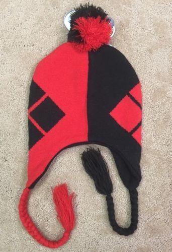 Dc Comics Batman Harley Quinn Pom Laplander Beanie Hat Ski Cap Black Red Nwt!