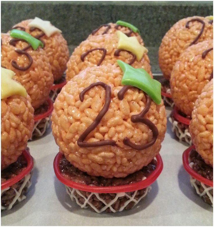 """Project """"King James"""" : These rice krispie treats were for a 9 year old's birthday party whose favorite professional basketball player is LeBron James, #23 of the Cleveland Cavaliers. LeBron is nicknamed """"King James""""! The rims of the basketball hoops were made of Twizzlers Cherry Pull 'n' Peel."""