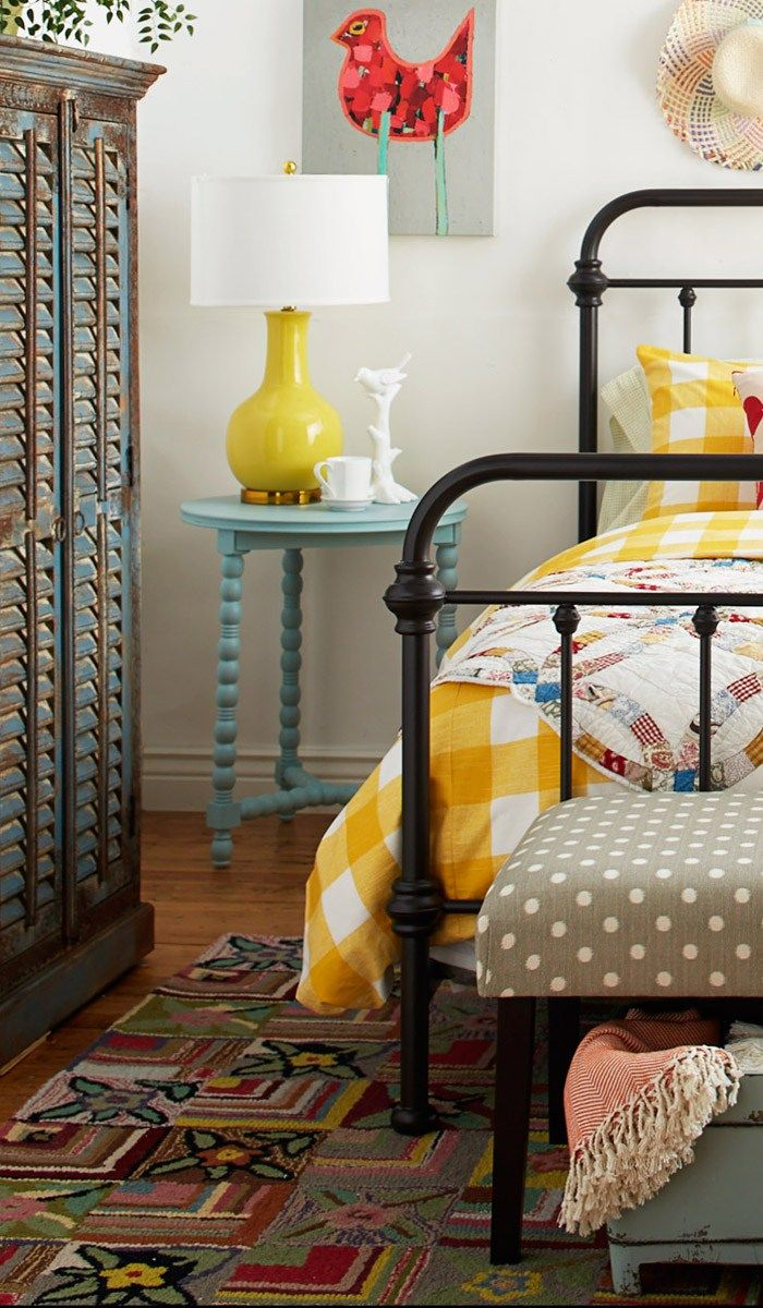 Colorful bedroom decor and table lamp