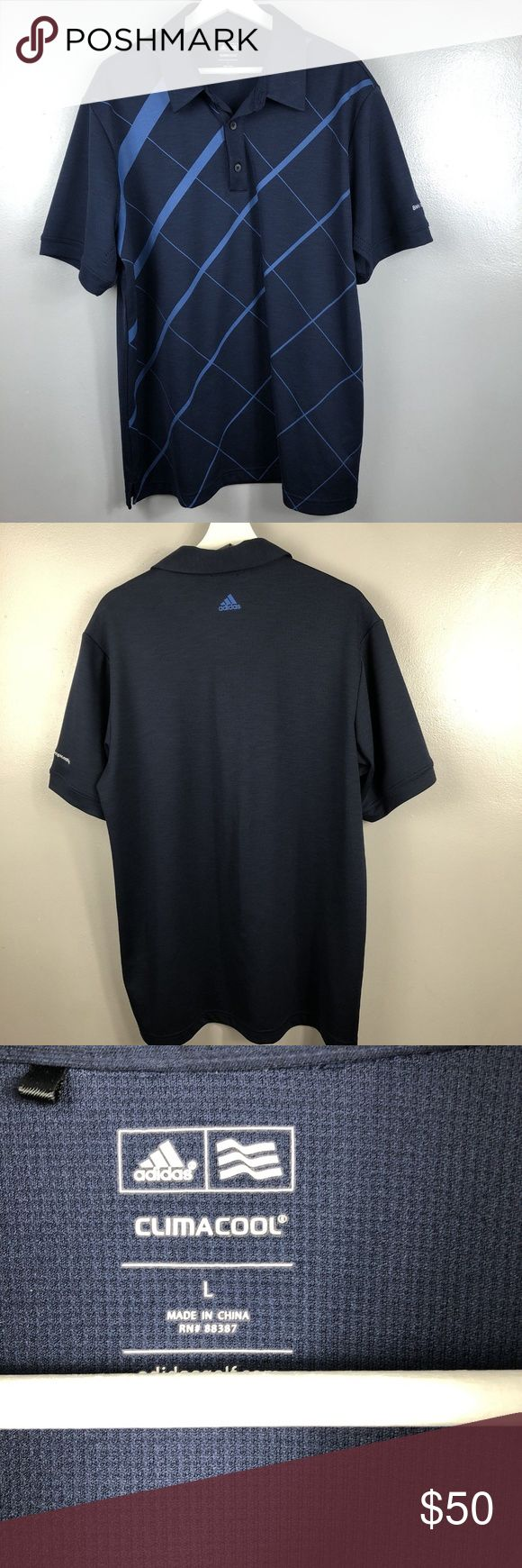 "Adidas Mens L Large BMW Golf polo Shirt Blue Top Adidas Mens L Large BMW  Golf polo Shirt Blue CLIMACOOL Short Sleeve Top  pit to pit 24"" length from shoulder 29""  excellent pre owned condition, no flaws to note adidas Shirts"