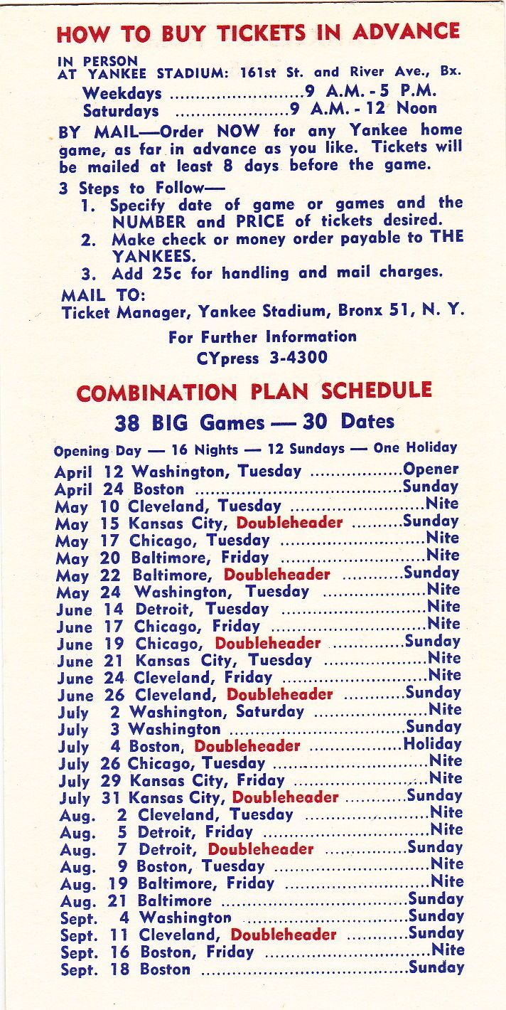 Yankees Game Schedule