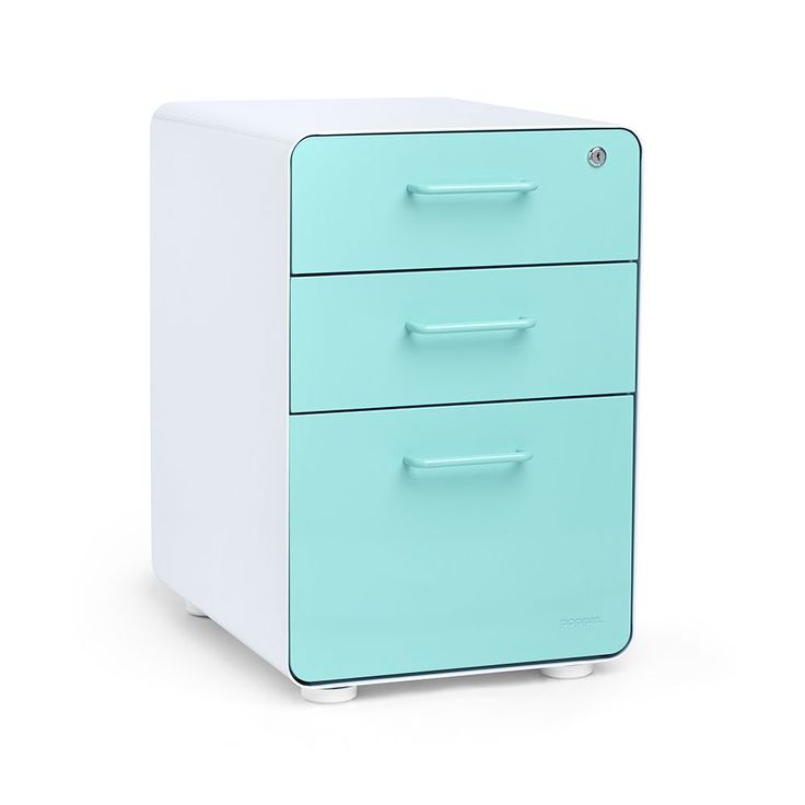 Poppin® White + Aqua Stow 3-drawer File Cabinet