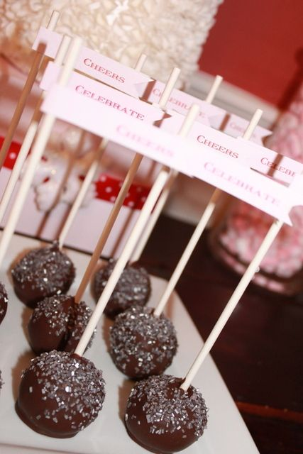Sparkly cake pops at a New Year's Party #newyears #cakepops
