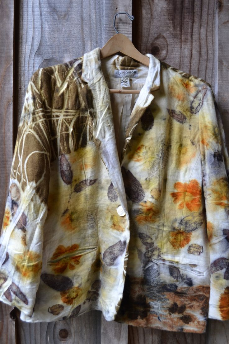 Color printing ecu - Wool Jacket Eco Printed With Yellow Flower Ecu Leves And Onion Skins By Www