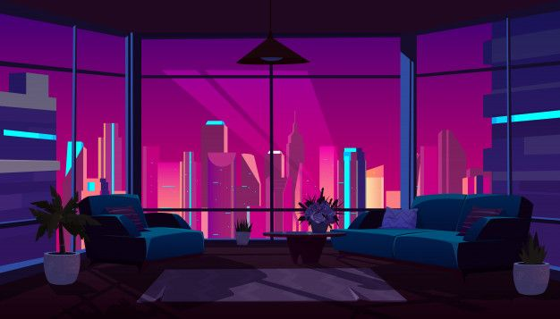Living Room Interior With Panoramic Wind Free Vector Freepik Freevector City Anime Backgrounds Wallpapers Episode Interactive Backgrounds Anime Places