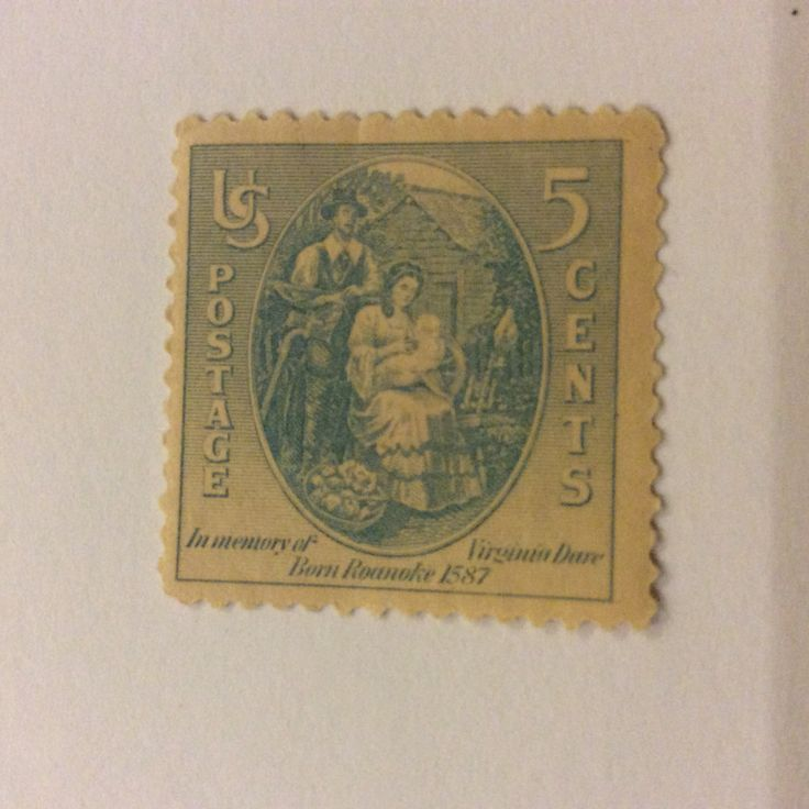 1937 Virginia Dare 5 cent US postage stamp. Virginia was the first English child to be born in America.