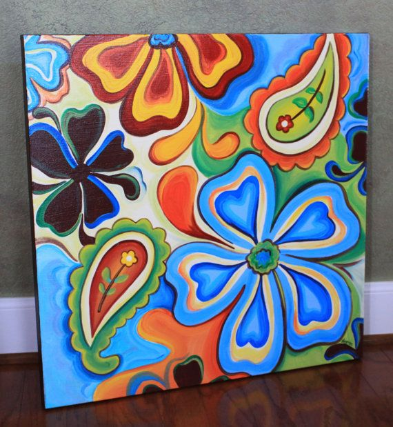 Floral Paisley Gallery Wrapped Canvas Painting on Etsy, $195.00