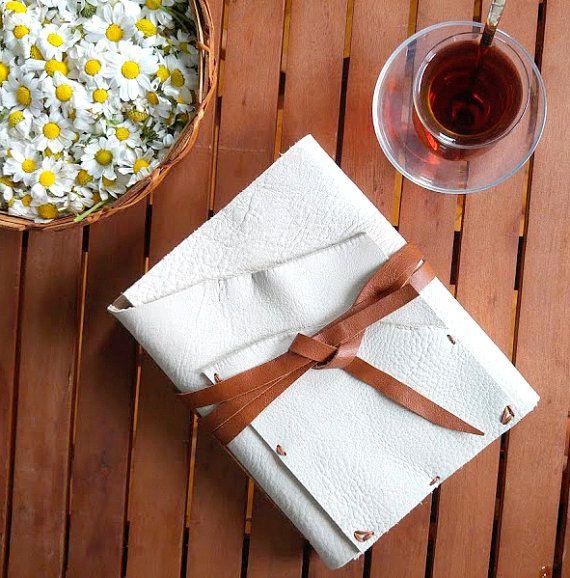 Beige bohem  handmade leather journal by B2handmadedesign on Etsy